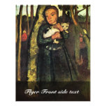 Girl With A Cat In The Birch Forest By Modersohn- Full Color Flyer