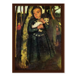 Girl With A Cat In The Birch Forest By Modersohn- Post Card