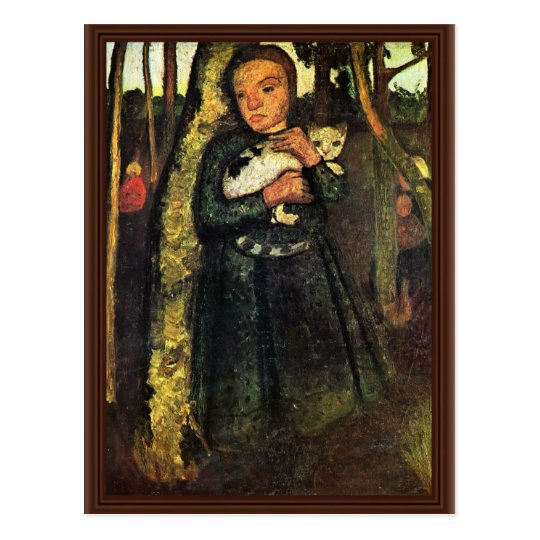 Girl With A Cat In The Birch Forest By Modersohn- Postcard