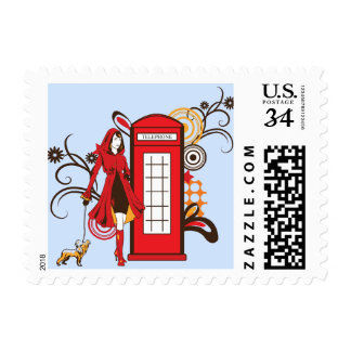 Girl with a dog with london telephone graphic postage