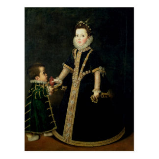 Girl with a dwarf, thought to be a portrait postcard