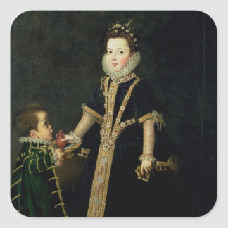 Girl with a dwarf, thought to be a portrait square stickers