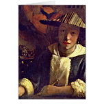 Girl With A Flute By Johannes Vermeer Greeting Card