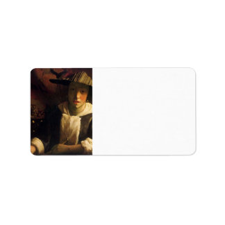 Girl with a flute by Johannes Vermeer Personalized Address Labels