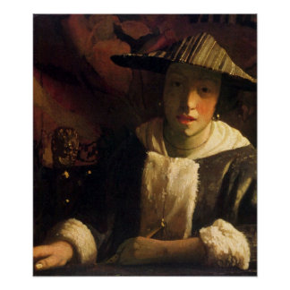 Girl with a flute by Johannes Vermeer Posters
