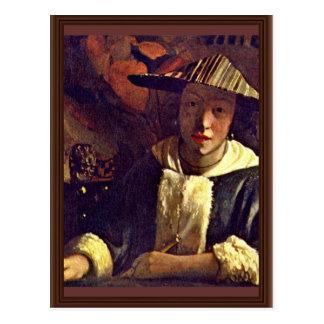 Girl With A Flute By Vermeer Van Delft Jan Postcards