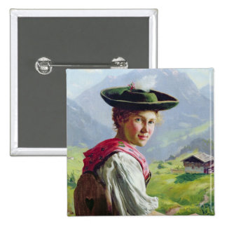 Girl with a Hat in Mountain Landscape Pinback Button