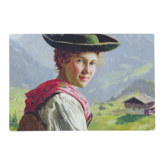 Girl with a Hat in Mountain Landscape Placemat
