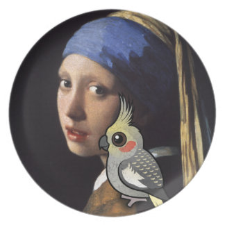 Girl with a Pearl Cockatiel Party Plates