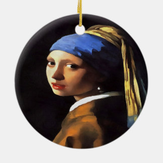 Girl with a Pearl Earring After Johannes Vermeer Ceramic Ornament