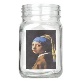 Girl with a Pearl Earring After Johannes Vermeer Mason Jar