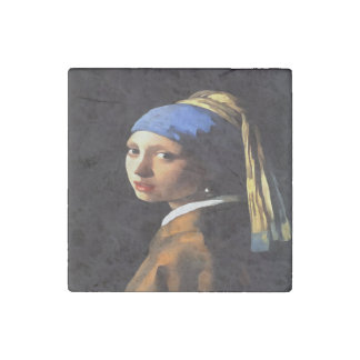Girl with a Pearl Earring After Johannes Vermeer Stone Magnet