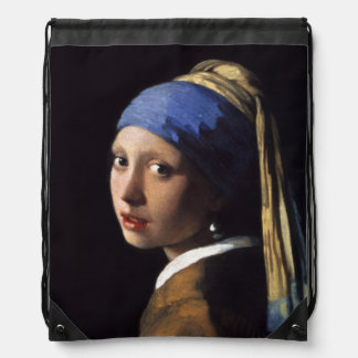 Girl With A Pearl Earring by Johannes Vermeer Drawstring Backpack