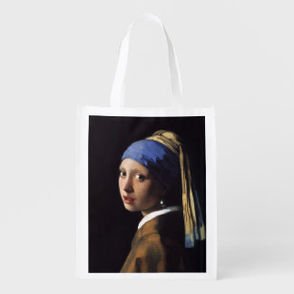 Girl With A Pearl Earring by Johannes Vermeer Grocery Bags