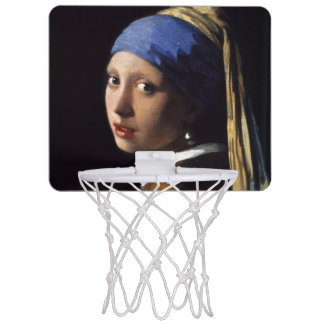 Girl With A Pearl Earring by Johannes Vermeer Mini Basketball Backboard