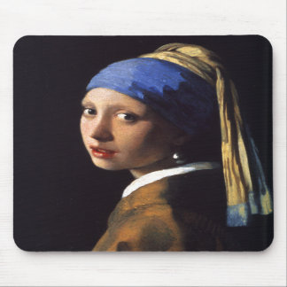 Girl with a pearl earring. By Johannes Vermeer Mouse Pad