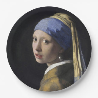 Girl with a Pearl Earring by Johannes Vermeer Paper Plate