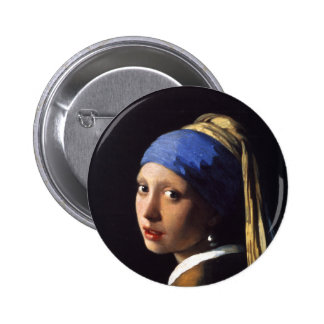 Girl with a pearl earring. By Johannes Vermeer Pinback Button