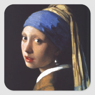 Girl with a Pearl Earring, by Vermeer Square Sticker