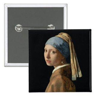 Girl with a Pearl Earring, c.1665-6 (oil on canvas Pinback Button