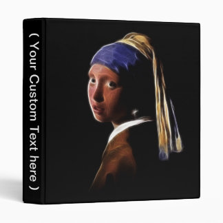 Girl with a Pearl Earring Digital Painting Vermeer 3 Ring Binder
