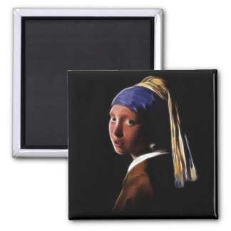Girl with a Pearl Earring Digital Painting Vermeer Magnet