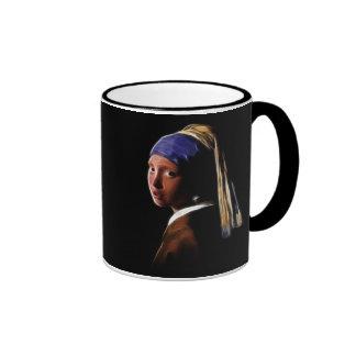 Girl with a Pearl Earring Digital Painting Vermeer Mugs