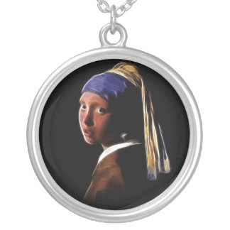 Girl with a Pearl Earring Digital Painting Vermeer Round Pendant Necklace