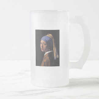 Girl with a Pearl Earring Frosted Glass Beer Mug