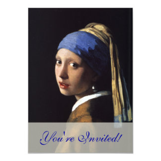 "Girl with a Pearl Earring Painting by Vermeer 4.5"" X 6.25"" Invitation Card"