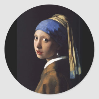 Girl with a Pearl Earring Round Stickers