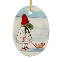 Girl with a Pig on a Leash Vintage Christmas Ceramic Ornament