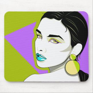 Girl With A Plastic Earring Mouse Pad