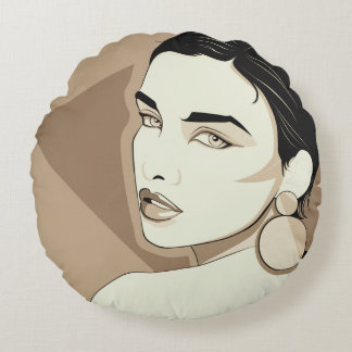 Girl With A Plastic Earring Vintage Round Pillow