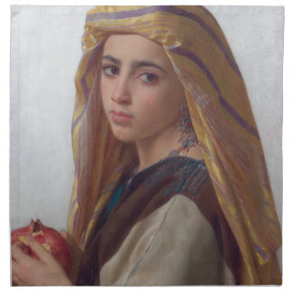 Girl With a Pomegranate by W.A. Bouguereau Cloth Napkin
