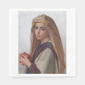 Girl With a Pomegranate by W.A. Bouguereau Paper Napkin