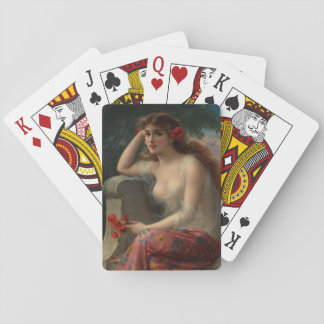 Girl with a Poppy by Emile Vernon Deck Of Cards
