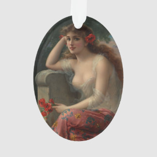 Girl with a Poppy by Emile Vernon Ornament