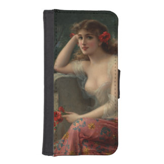 Girl with a Poppy by Emile Vernon Phone Wallets