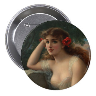 Girl with a Poppy Pinback Button