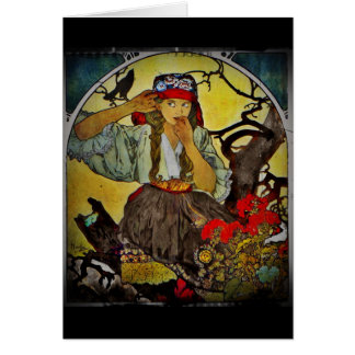 Girl with a Raven Card