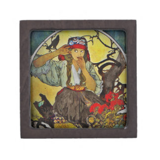 Girl with a Raven Gift Box