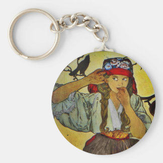 Girl with a Raven Keychain