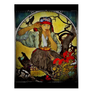 Girl with a Raven Postcard