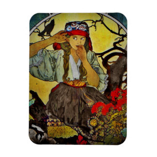 Girl with a Raven Rectangular Photo Magnet