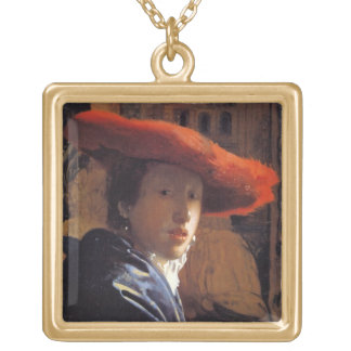 Girl with a Red Hat, c.1665 (oil on panel) Gold Plated Necklace