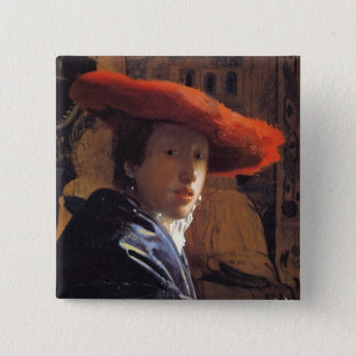 Girl with a Red Hat, c.1665 (oil on panel) Pinback Button