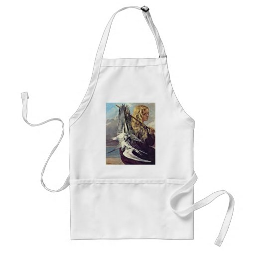 Girl With A Seagull By Courbet Gustave Adult Apron