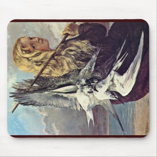 Girl With A Seagull By Courbet Gustave Mouse Pad
