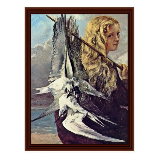 Girl With A Seagull By Courbet Gustave Post Card